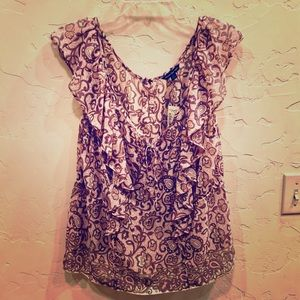 NWT! AE Super Cute Sheer, V-Neck w/tie Blouse